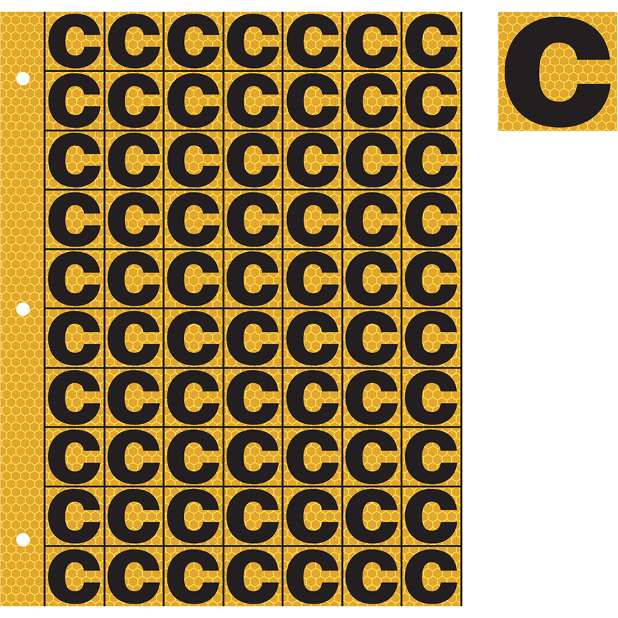 "1"" Black on Yellow SunBright® Reflective ""C"""