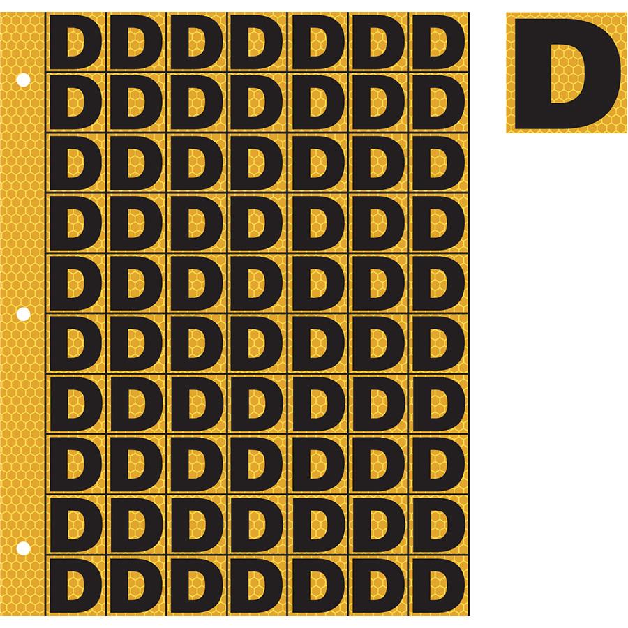 "1"" Black on Yellow SunBright® Reflective ""D"""