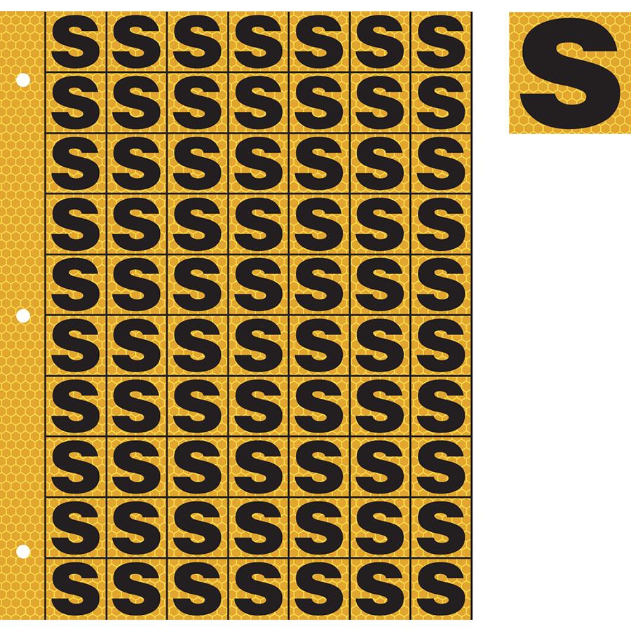 "1"" Black on Yellow SunBright® Reflective ""S"""