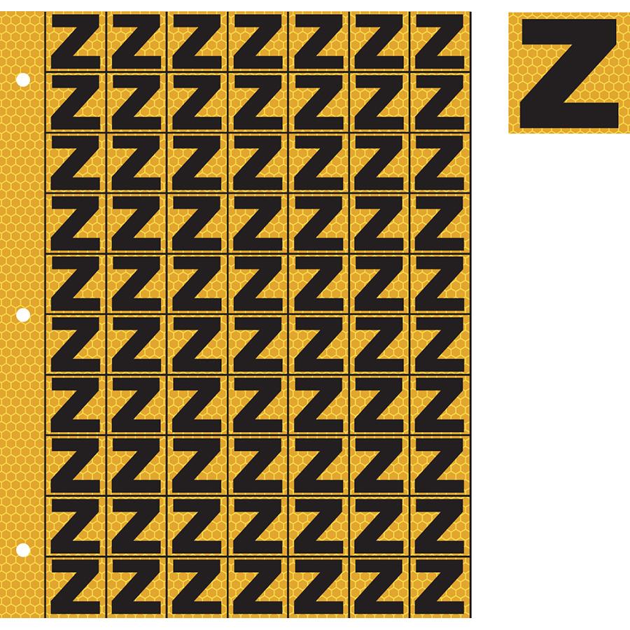 "1"" Black on Yellow SunBright® Reflective ""Z"""