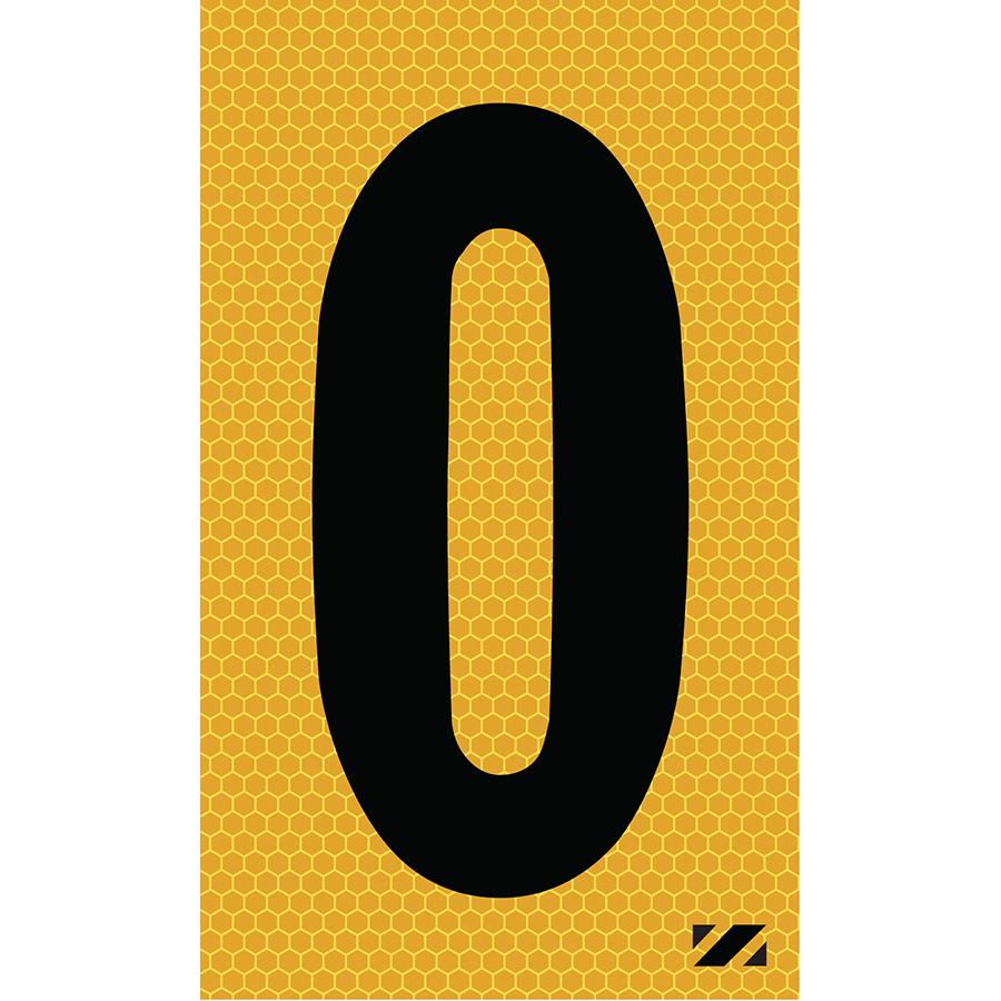 "2"" Black on Yellow SunBright® Reflective ""0"""