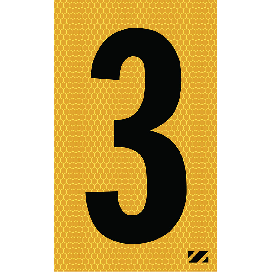 "2"" Black on Yellow SunBright® Reflective ""3"""