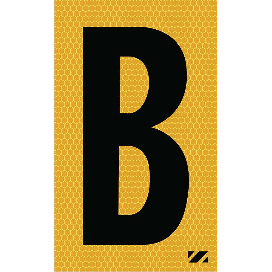 "2"" Black on Yellow SunBright® Reflective ""B"""