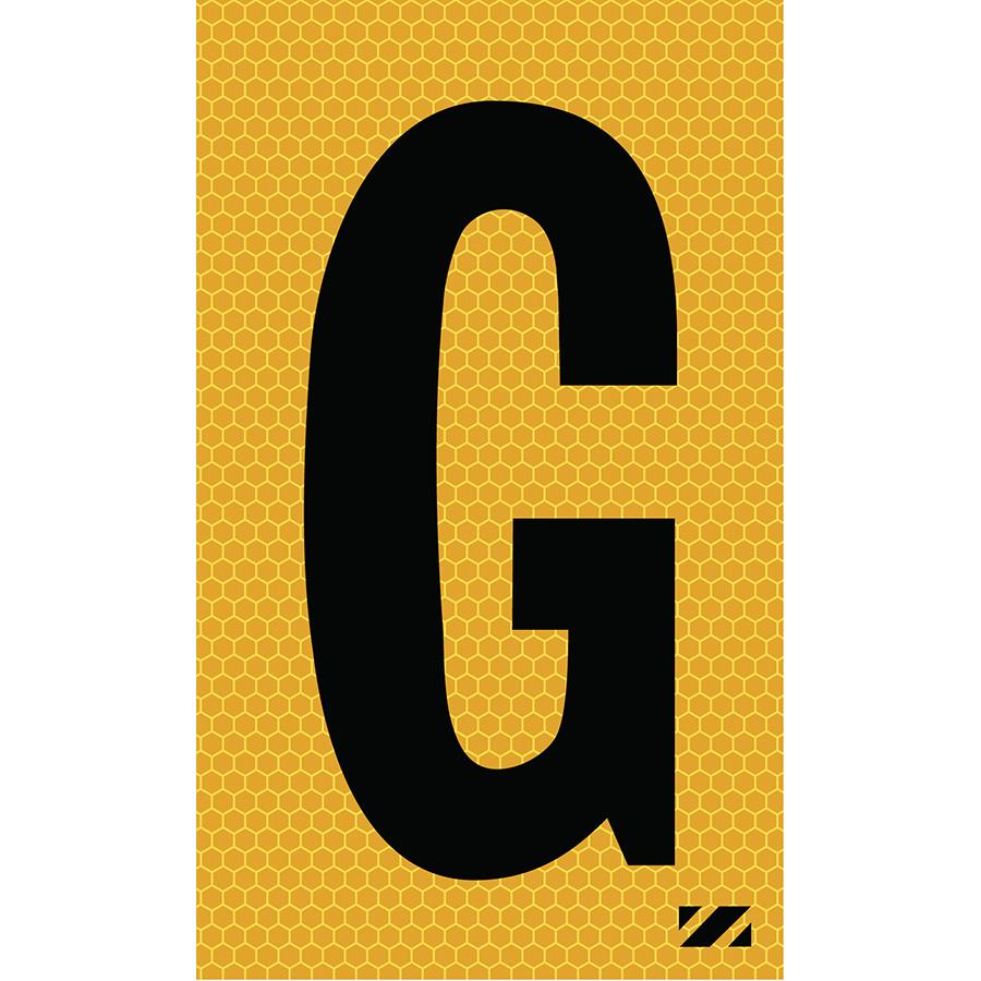"2"" Black on Yellow SunBright® Reflective ""G"""