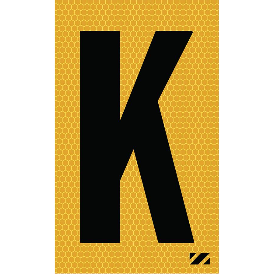 "2"" Black on Yellow SunBright® Reflective ""K"""