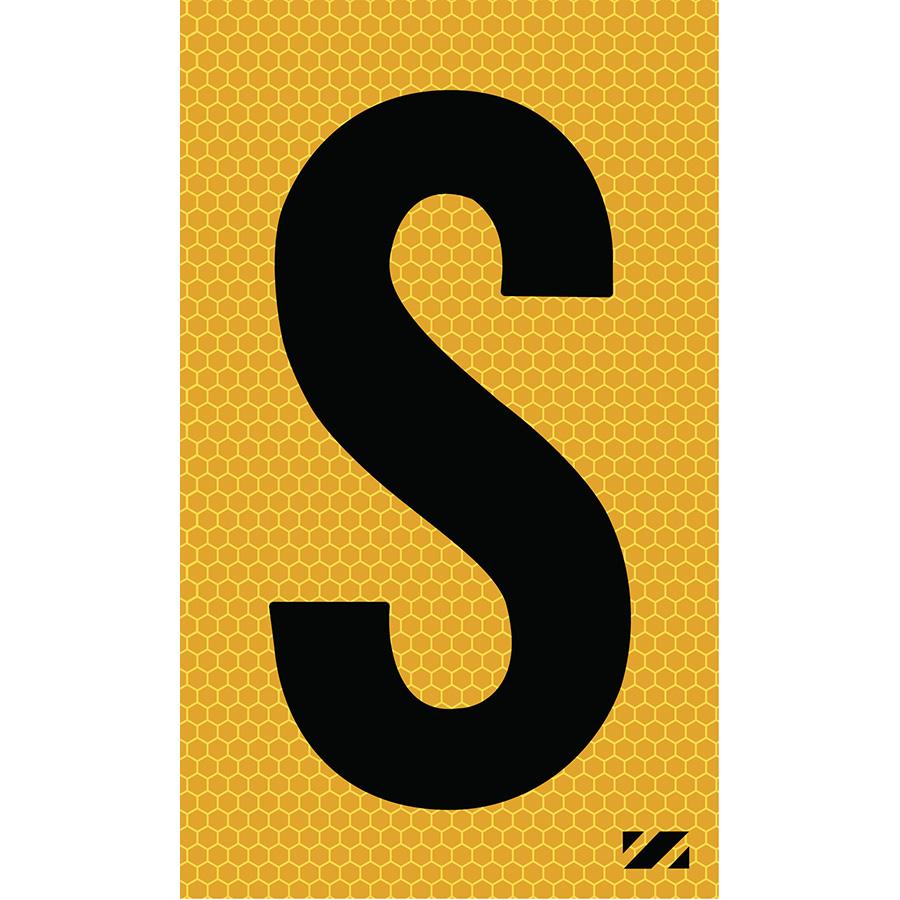 "2"" Black on Yellow SunBright® Reflective ""S"""