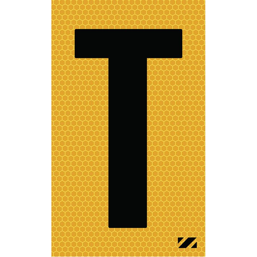 "2"" Black on Yellow SunBright® Reflective ""T"""