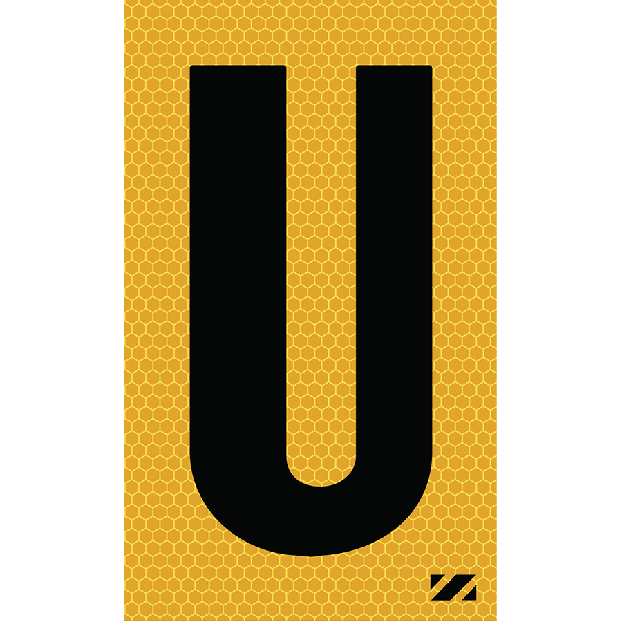 "2"" Black on Yellow SunBright® Reflective ""U"""