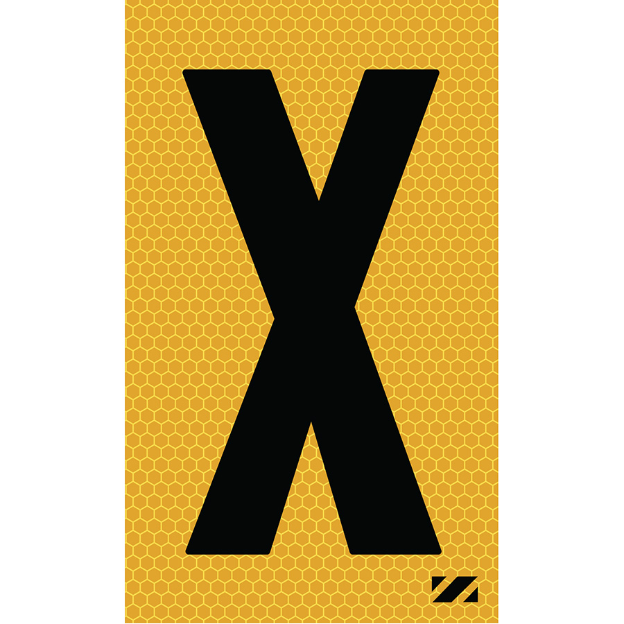 "2"" Black on Yellow SunBright® Reflective ""X"""