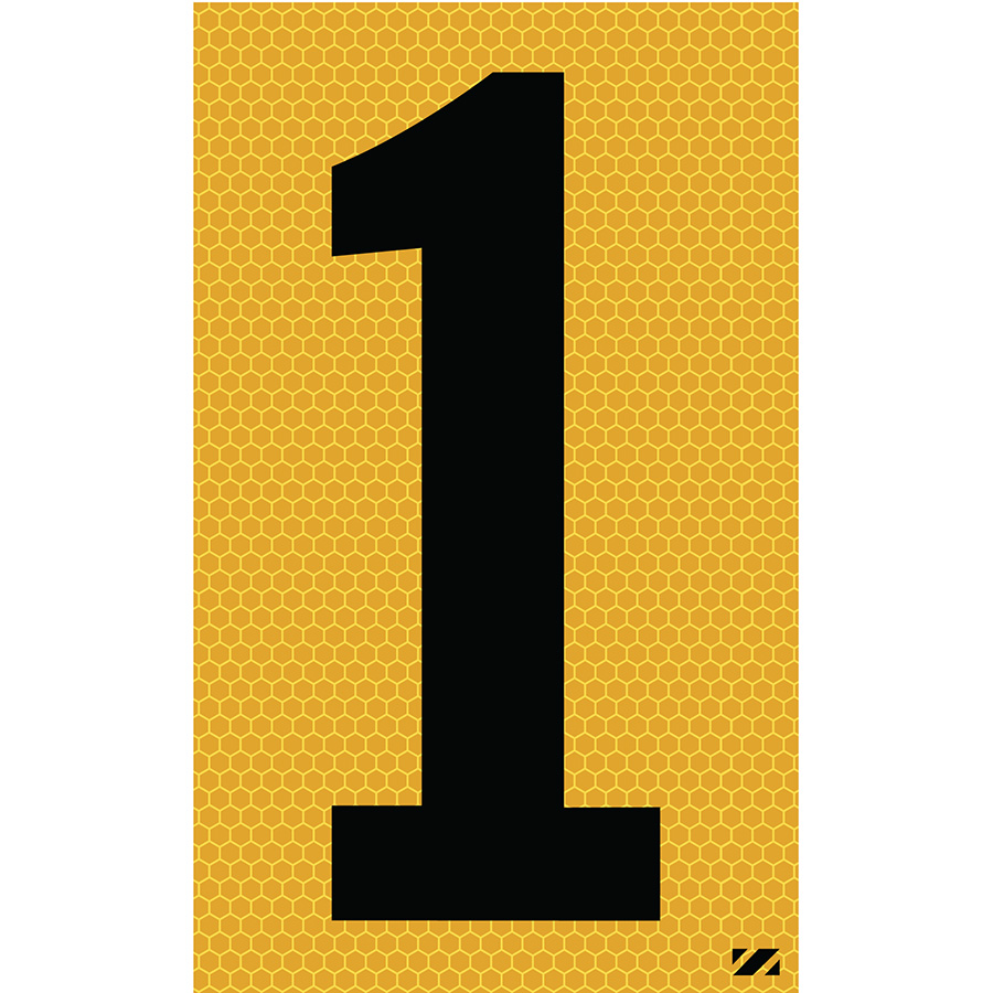 "2.5"" Black on Yellow SunBright® Reflective ""1"""