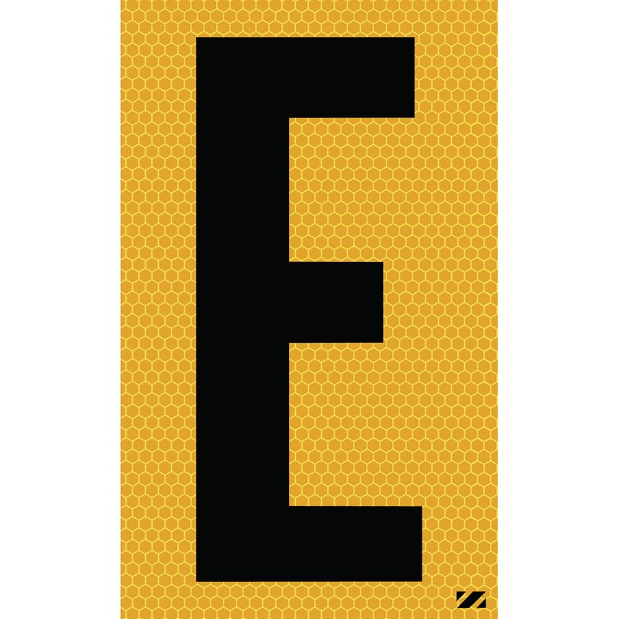 "2.5"" Black on Yellow SunBright® Reflective ""E"""