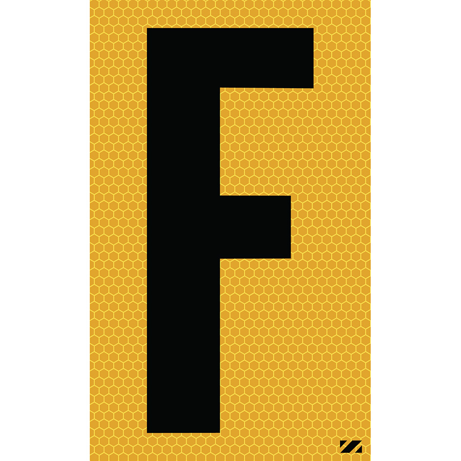 "2.5"" Black on Yellow SunBright® Reflective ""F"""