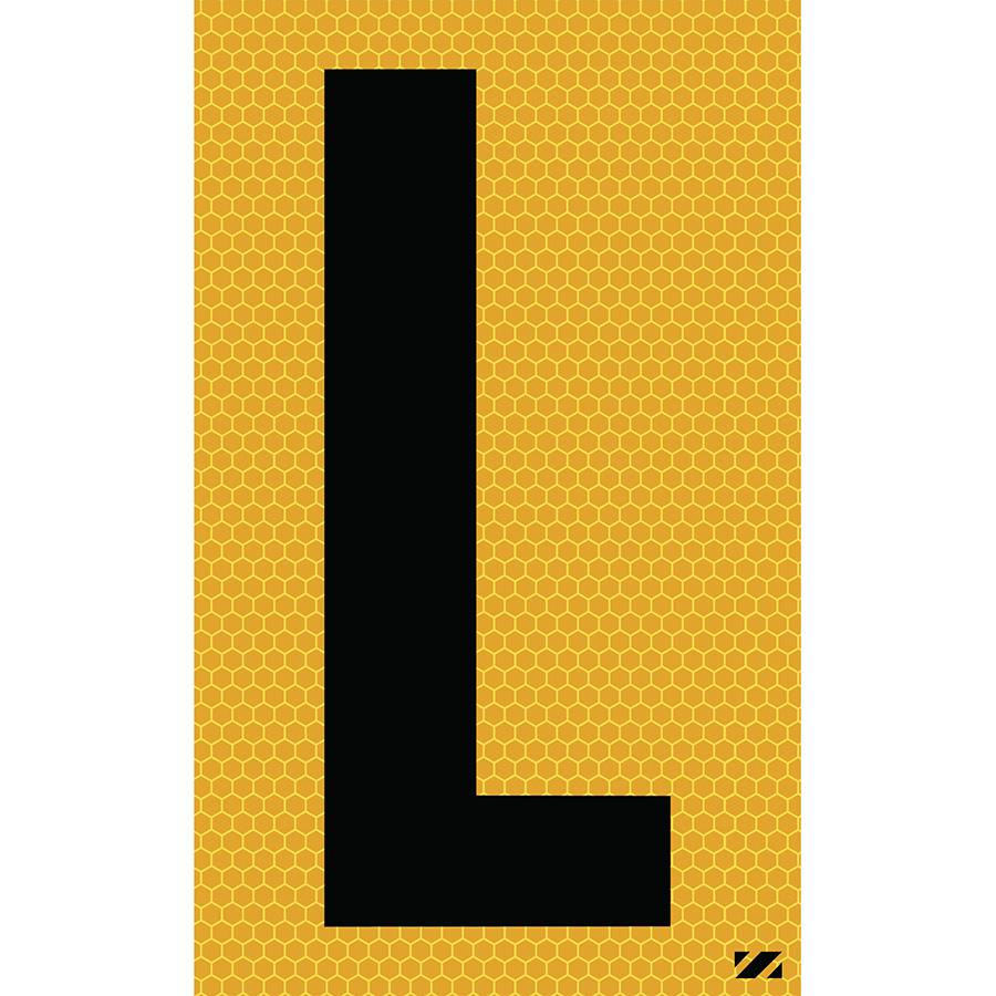 "2.5"" Black on Yellow SunBright® Reflective ""L"""