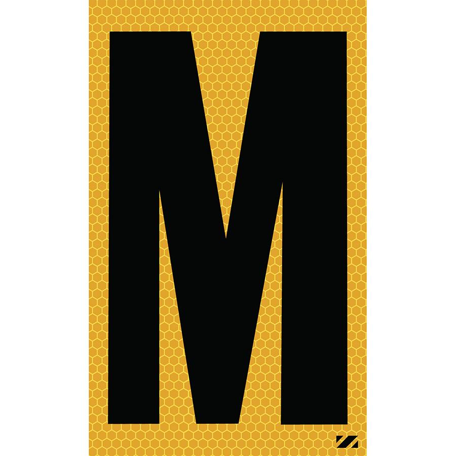 "2.5"" Black on Yellow SunBright® Reflective ""M"""