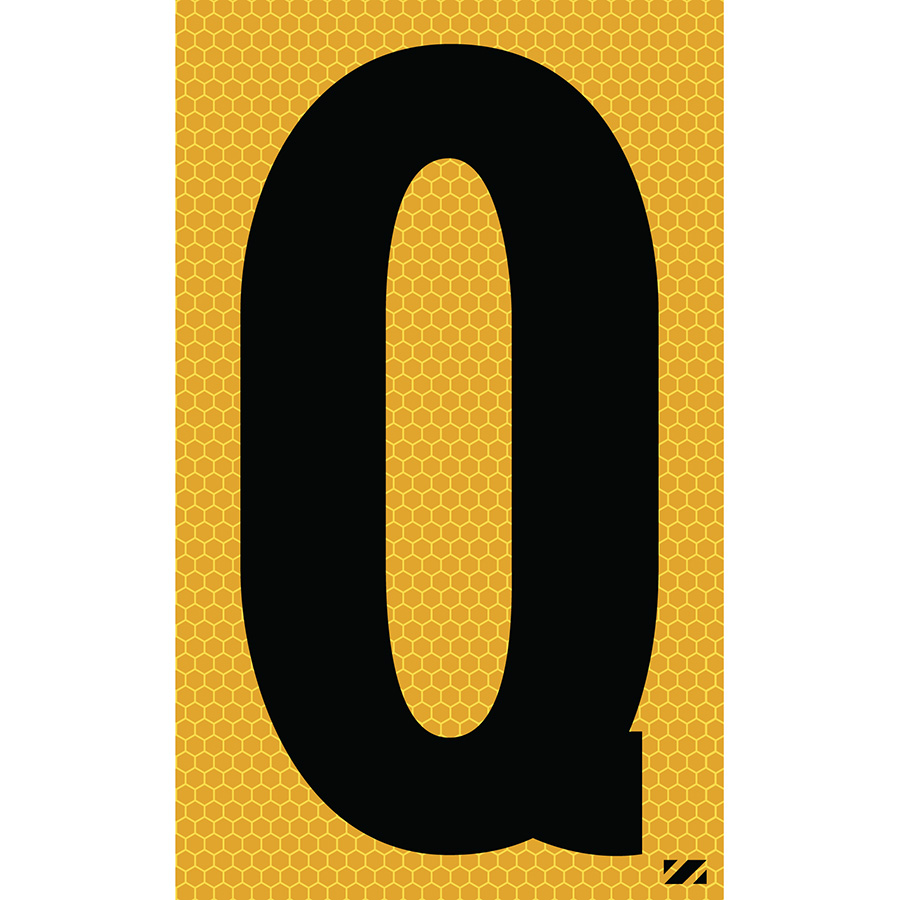"2.5"" Black on Yellow SunBright® Reflective ""Q"""