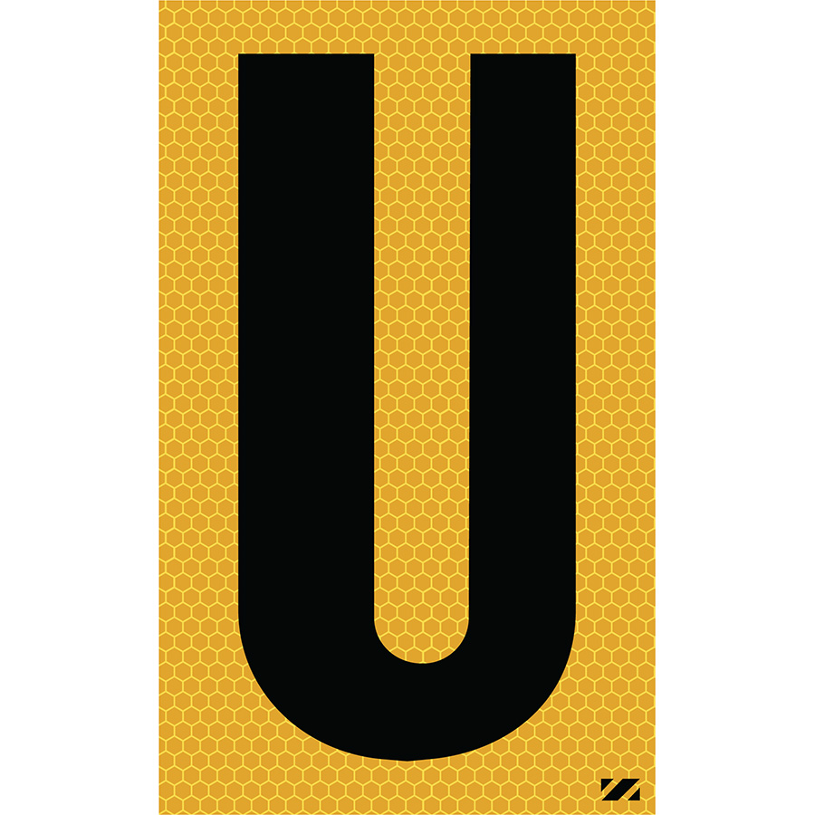 "2.5"" Black on Yellow SunBright® Reflective ""U"""
