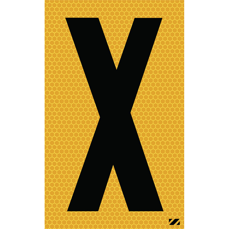 "2.5"" Black on Yellow SunBright® Reflective ""X"""