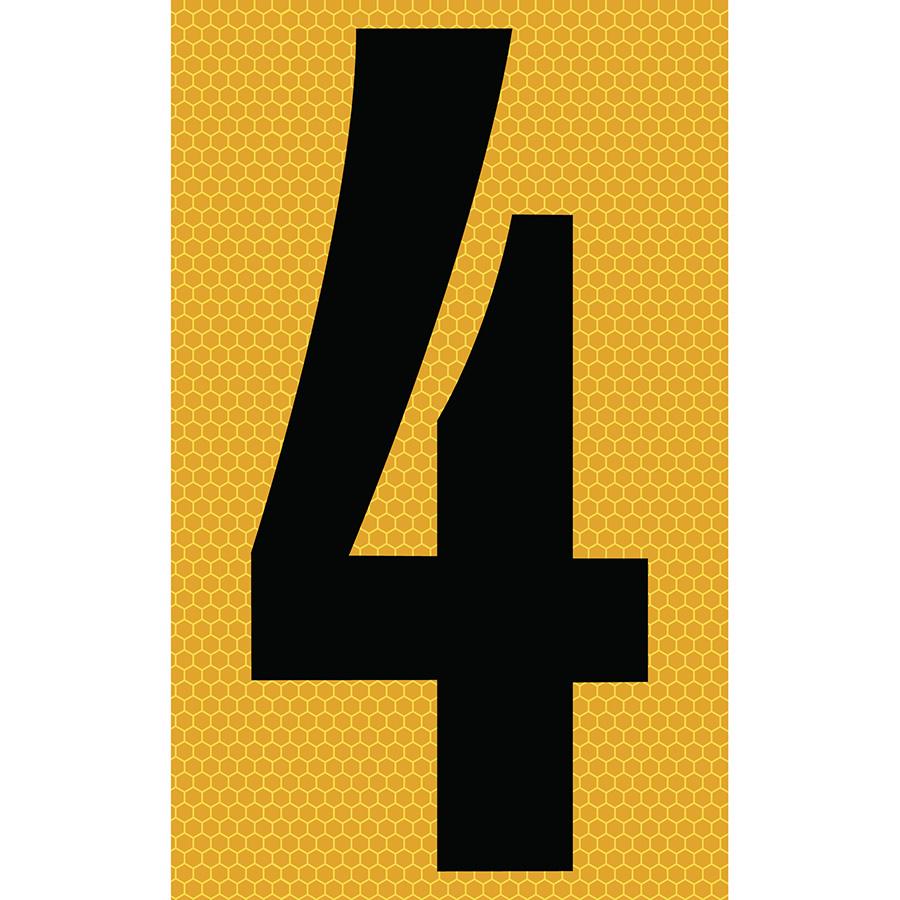 "3"" Black on Yellow SunBright® Reflective ""4"""