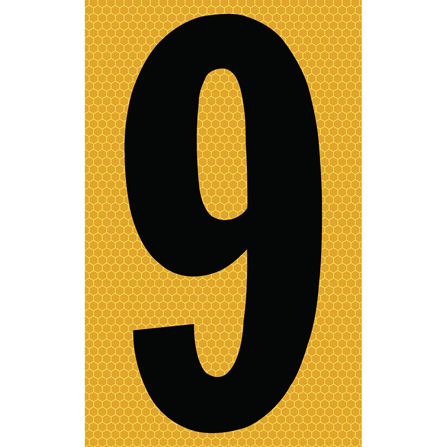 "3"" Black on Yellow SunBright® Reflective ""9"""