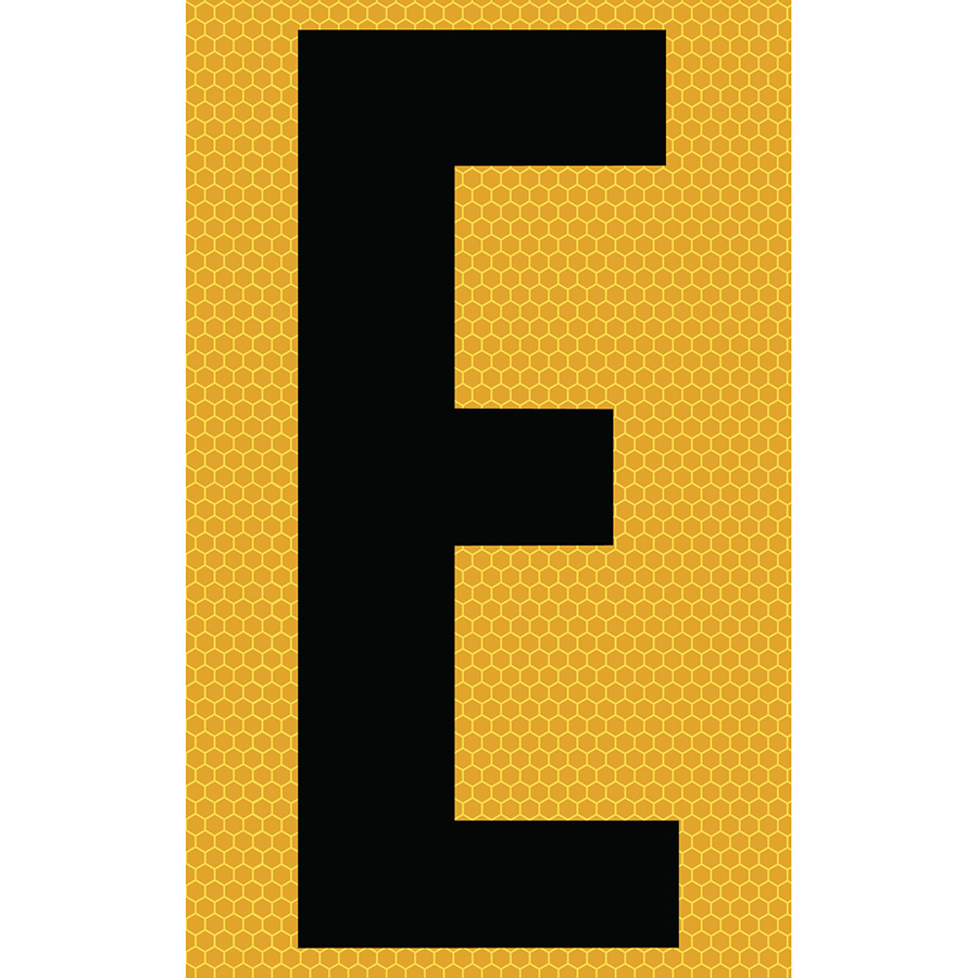 "3"" Black on Yellow SunBright® Reflective ""E"""