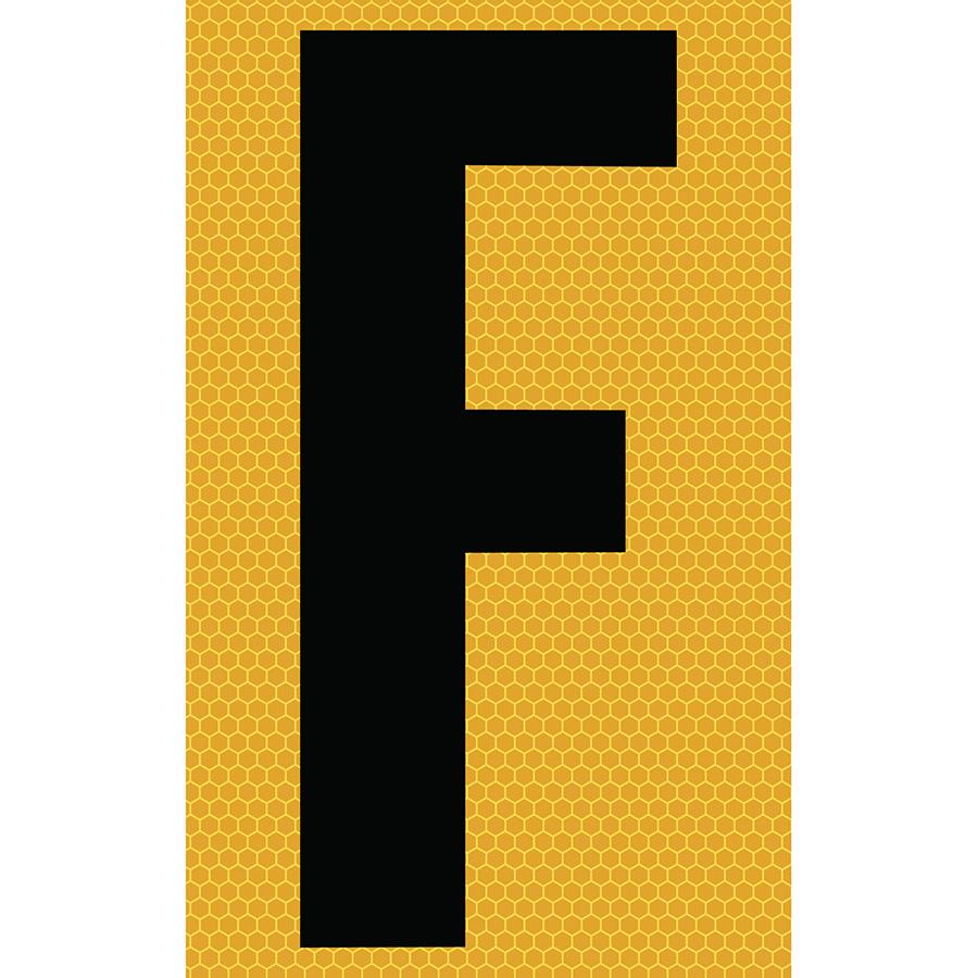 "3"" Black on Yellow SunBright® Reflective ""F"""