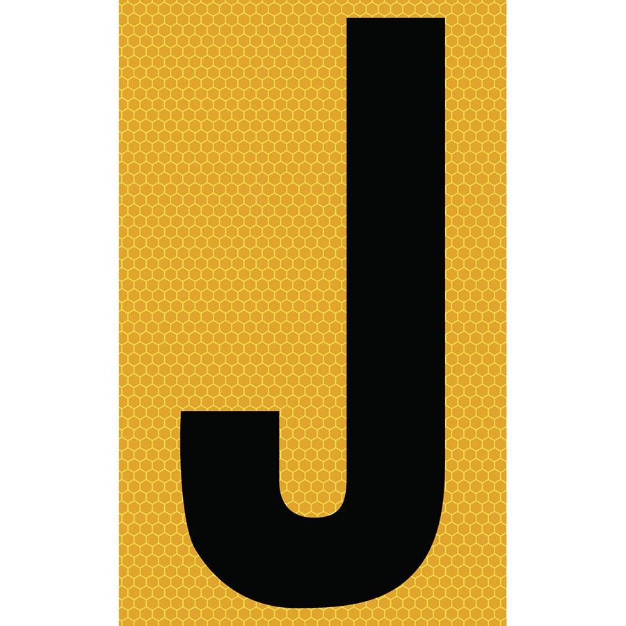 "3"" Black on Yellow SunBright® Reflective ""J"""