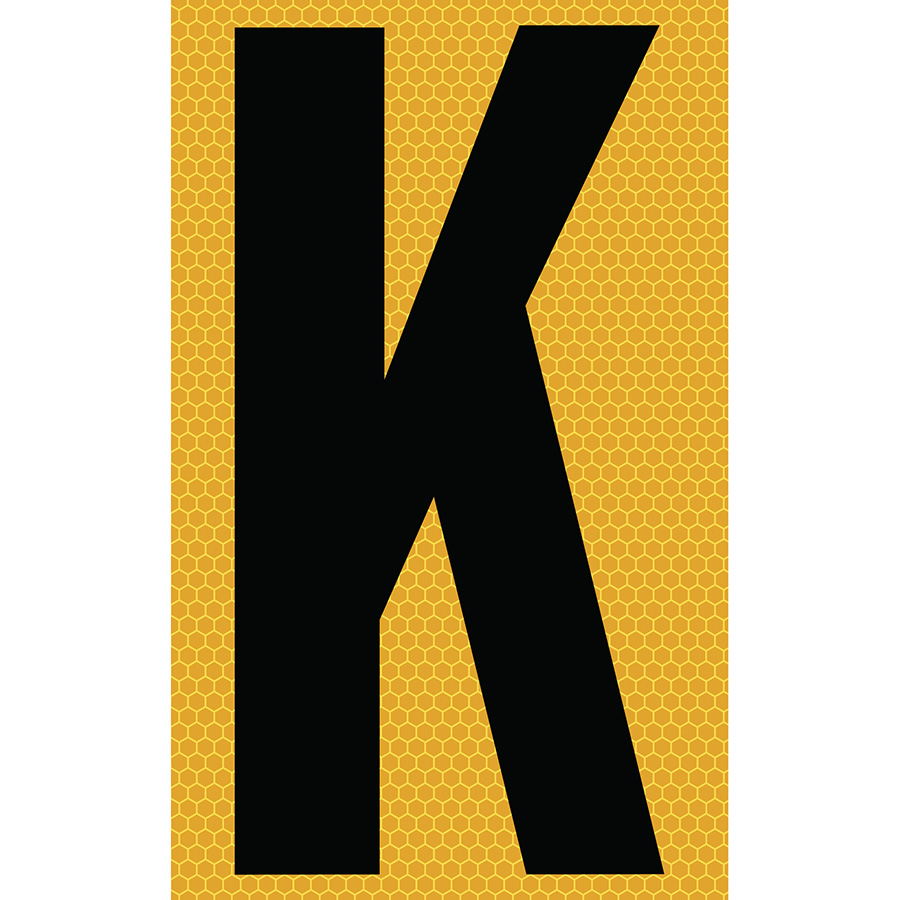 "3"" Black on Yellow SunBright® Reflective ""K"""