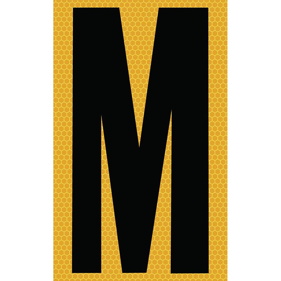 "3"" Black on Yellow SunBright® Reflective ""M"""