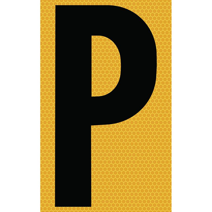 "3"" Black on Yellow SunBright® Reflective ""P"""