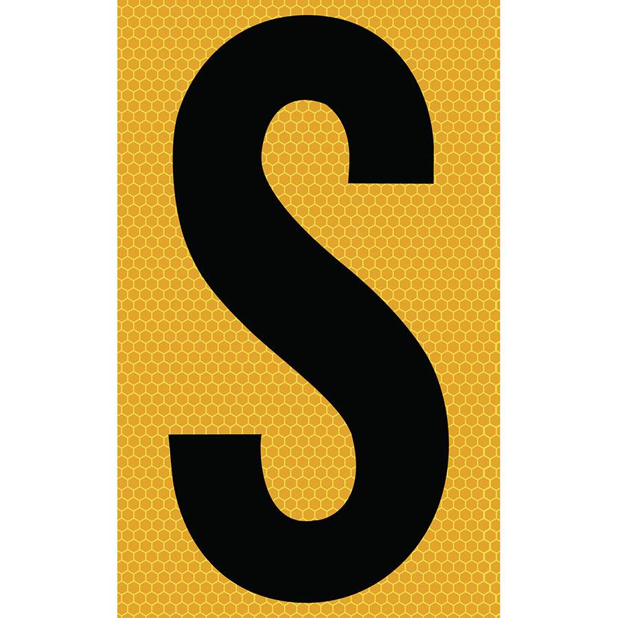 "3"" Black on Yellow SunBright® Reflective ""S"""
