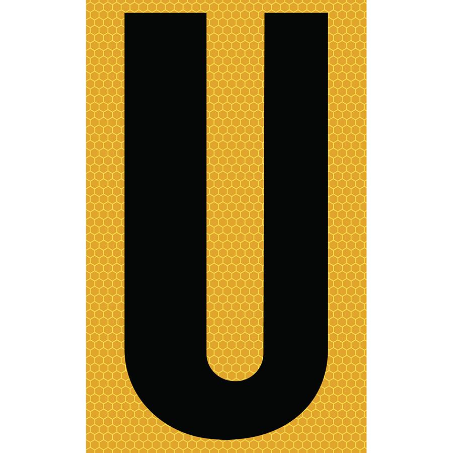 "3"" Black on Yellow SunBright® Reflective ""U"""