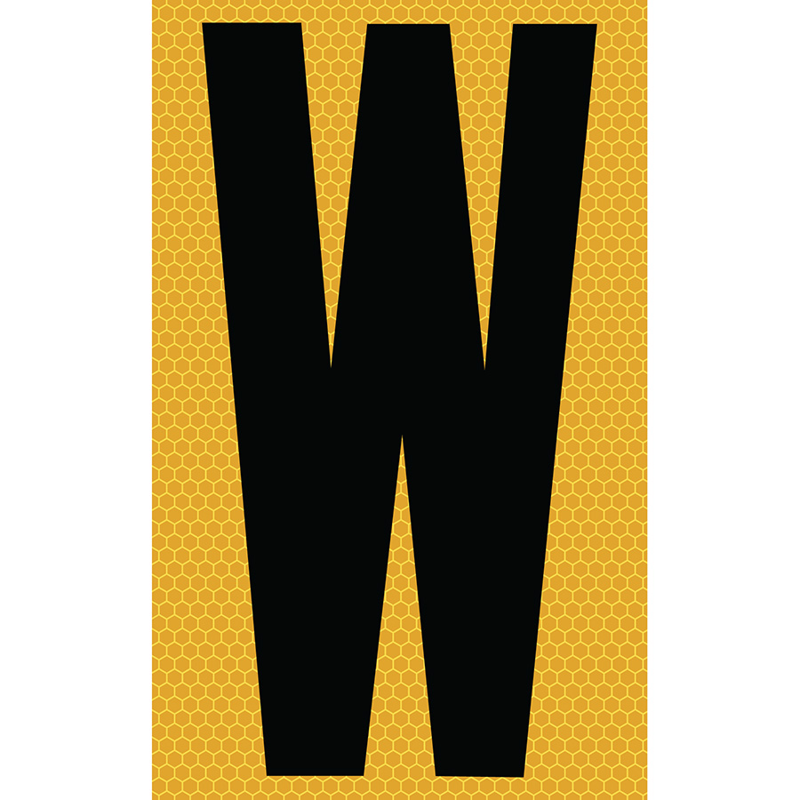 "3"" Black on Yellow SunBright® Reflective ""W"""