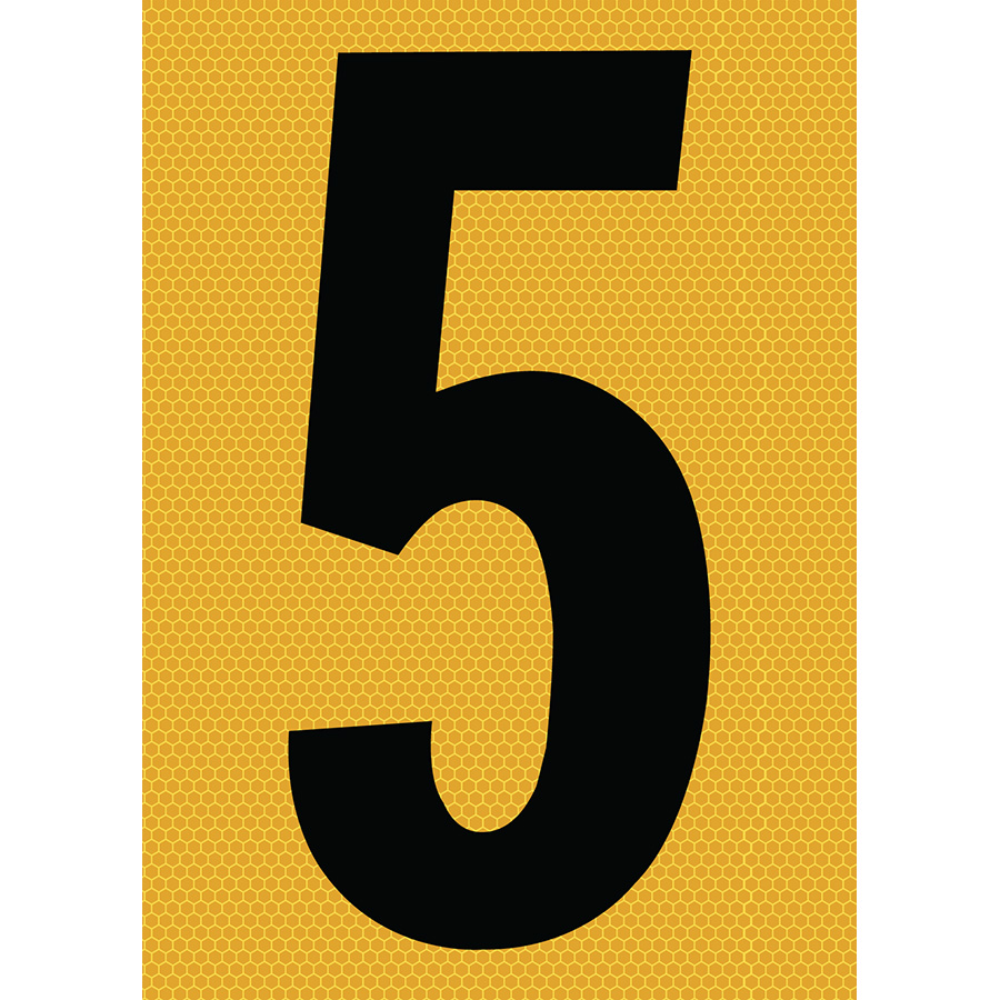 "6"" Black on Yellow SunBright® Reflective ""5"""