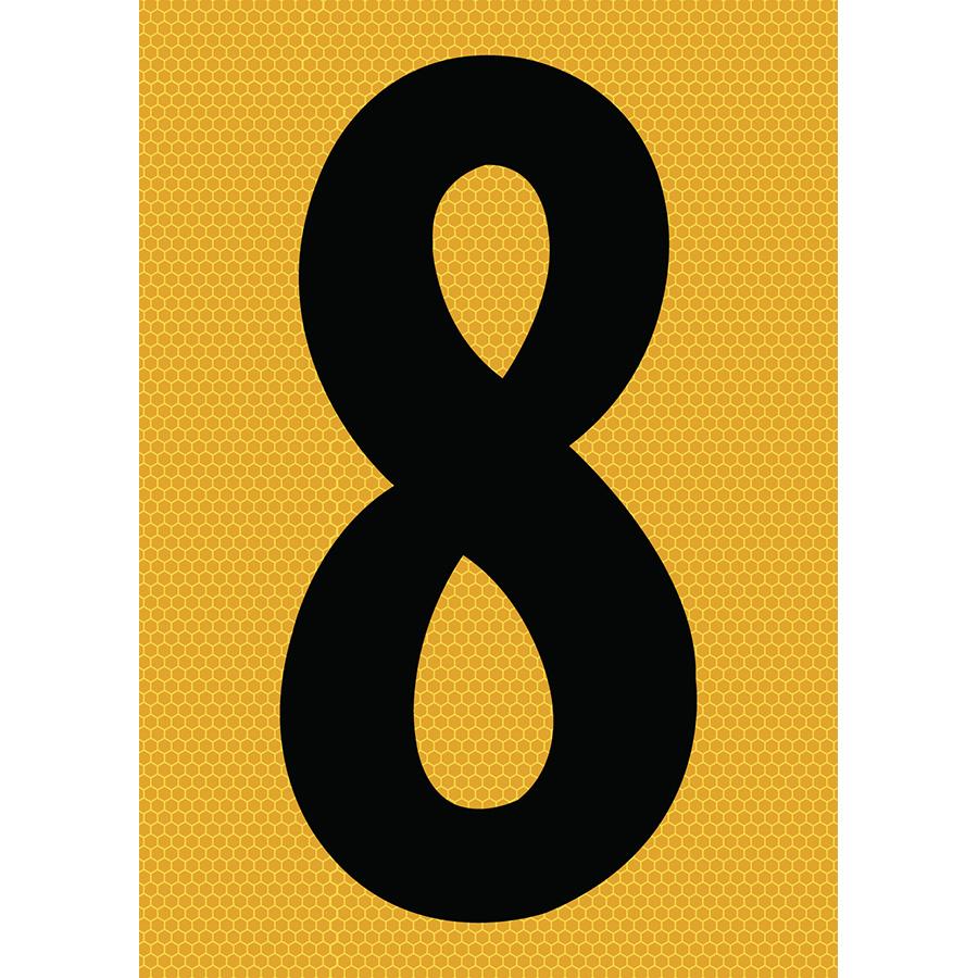 "6"" Black on Yellow SunBright® Reflective ""8"""