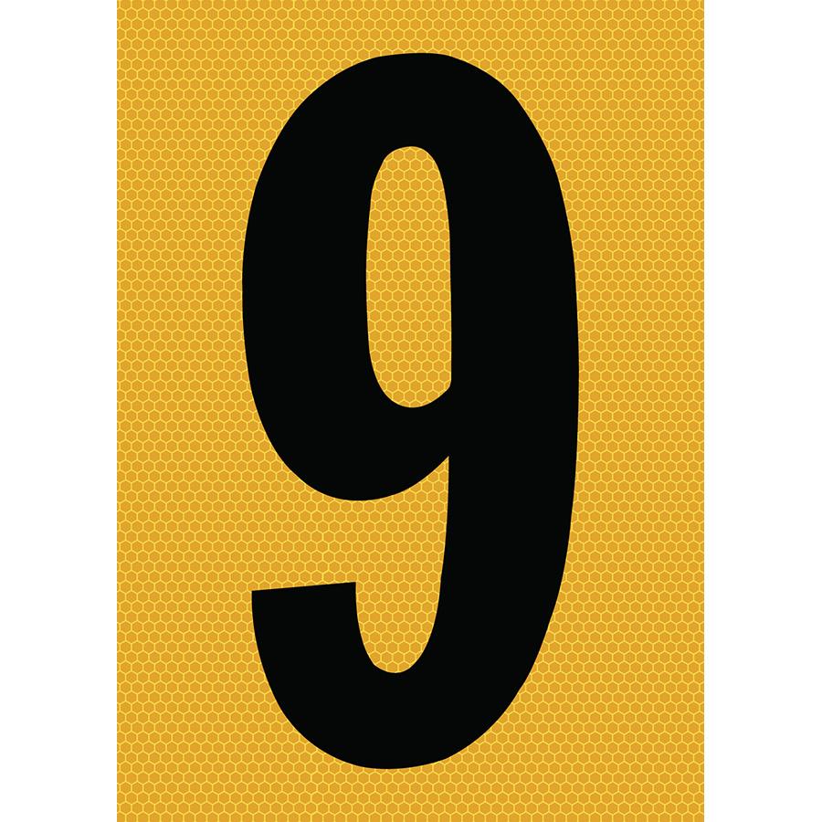 "6"" Black on Yellow SunBright® Reflective ""9"""