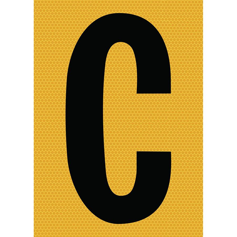 "6"" Black on Yellow SunBright® Reflective ""C"""
