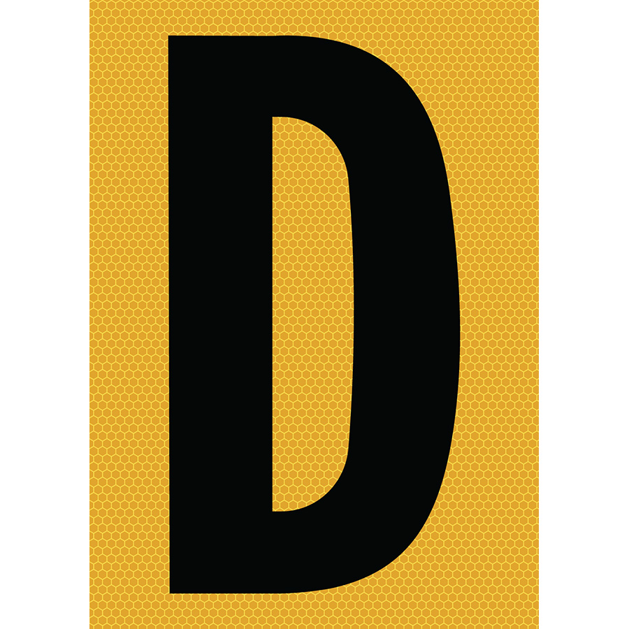 "6"" Black on Yellow SunBright® Reflective ""D"""