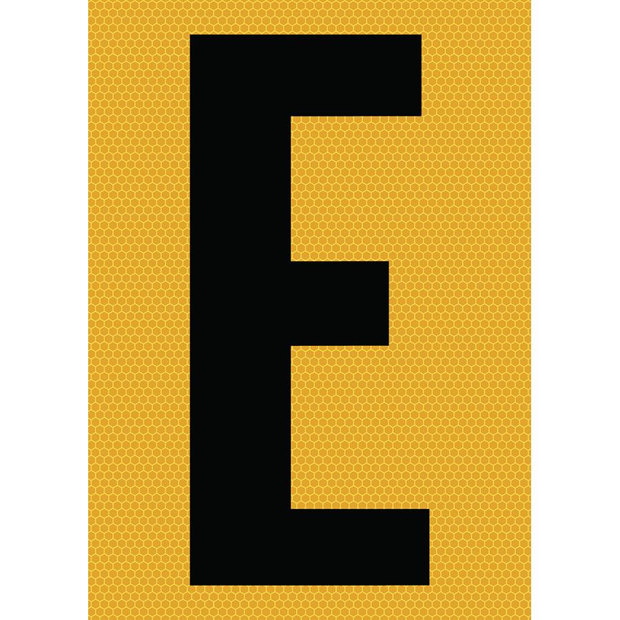 "6"" Black on Yellow SunBright® Reflective ""E"""