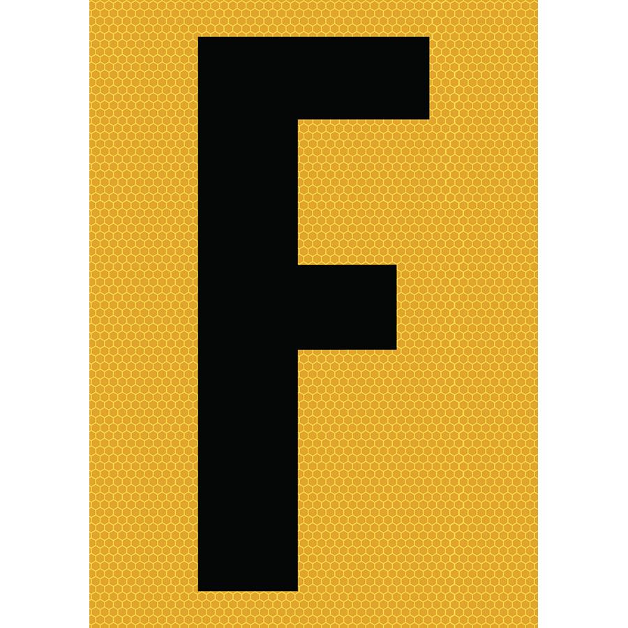 "6"" Black on Yellow SunBright® Reflective ""F"""