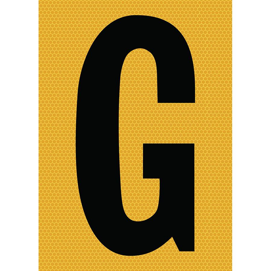 "6"" Black on Yellow SunBright® Reflective ""G"""