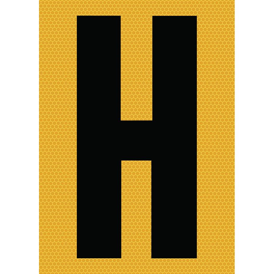 "6"" Black on Yellow SunBright® Reflective ""H"""