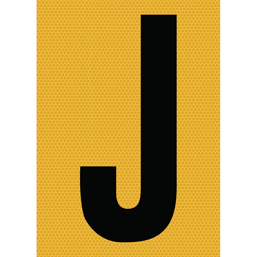 "6"" Black on Yellow SunBright® Reflective ""J"""