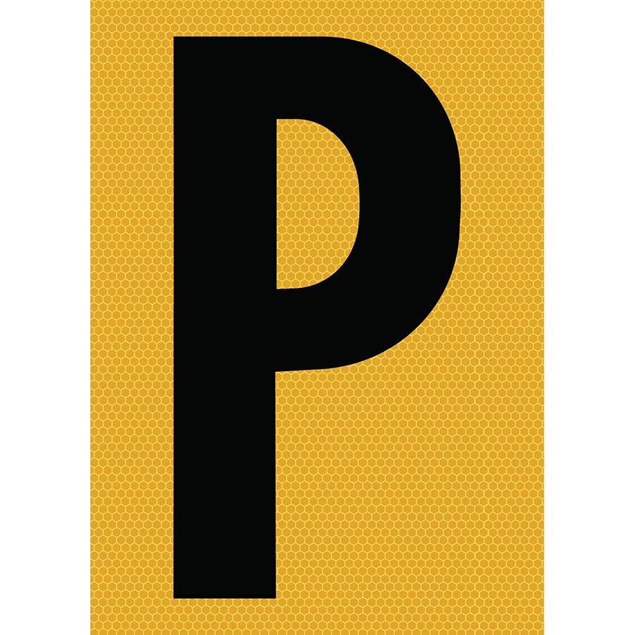 "6"" Black on Yellow SunBright® Reflective ""P"""