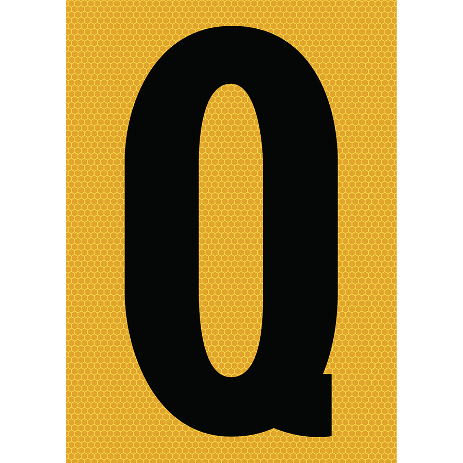 "6"" Black on Yellow SunBright® Reflective ""Q"""