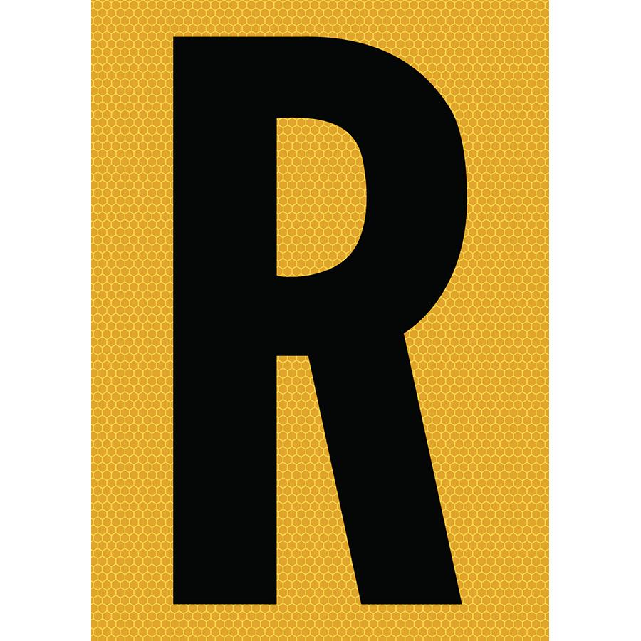 "6"" Black on Yellow SunBright® Reflective ""R"""
