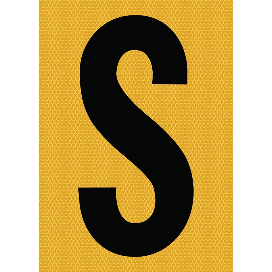 "6"" Black on Yellow SunBright® Reflective ""S"""