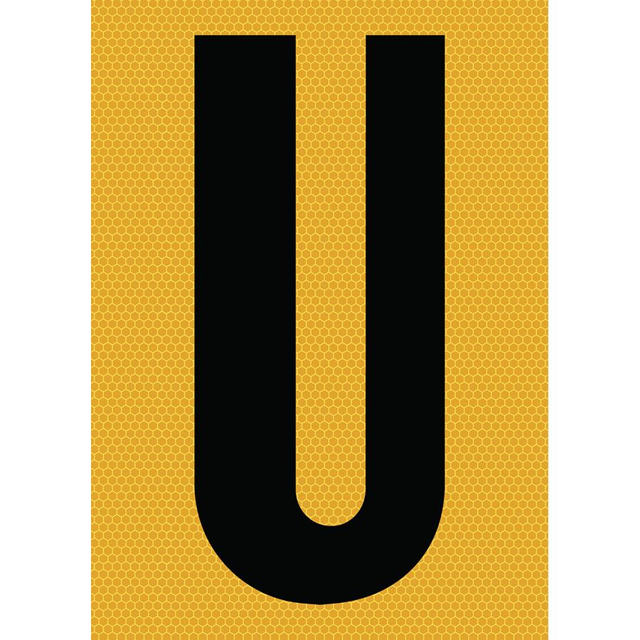 "6"" Black on Yellow SunBright® Reflective ""U"""