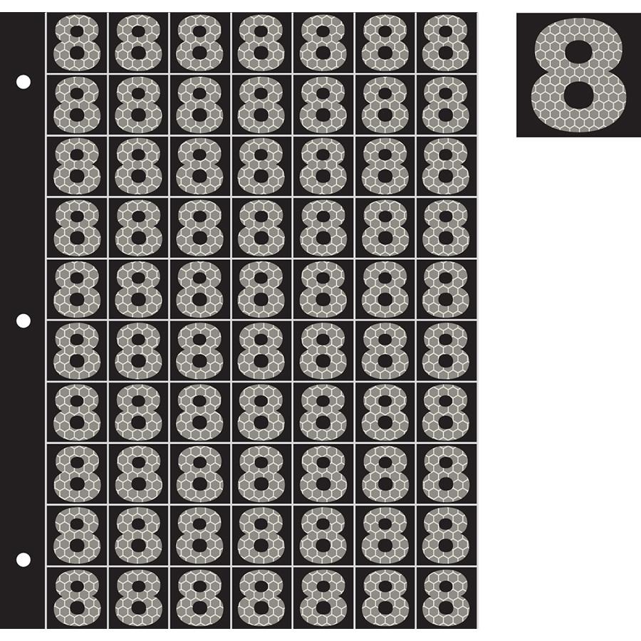 "1"" Silver on Black SunBright® Reflective ""8"""