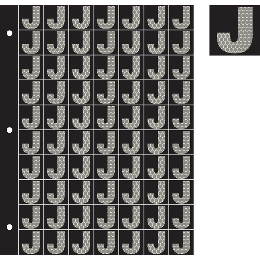 "1"" Silver on Black SunBright® Reflective ""J"""