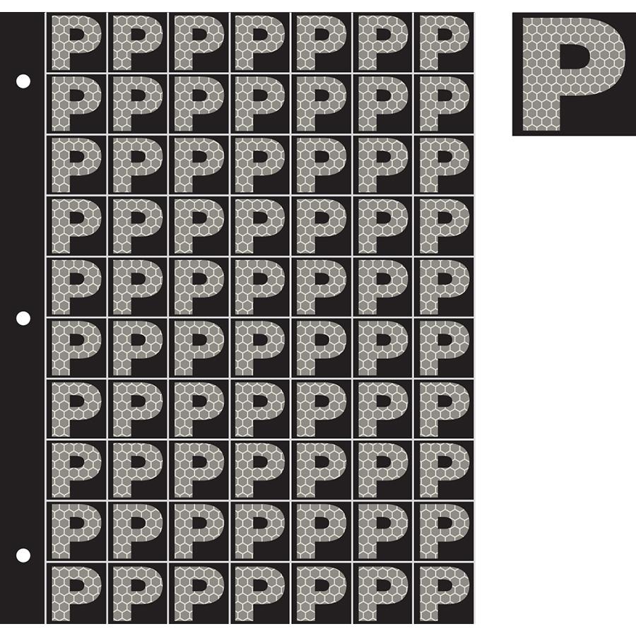 "1"" Silver on Black SunBright® Reflective ""P"""
